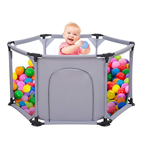 Laufgitter Baby Spielgitter für Kinder Laufstall Baby Kinderzaun 6-Teilig Tragbar Waschbar mit Atmungsaktivem...