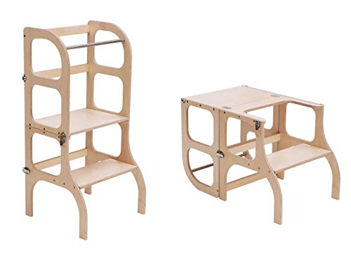Lernturm/Tisch/Stuhl alles in einem Hocker/Montessori Learning tower, kitchen helper step stool - dark WOODEN...
