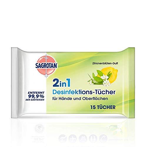 Sagrotan 2in1 Desinfektionstücher mit Zitronenblüten-Duft – Zum Desinfizieren von Händen und Oberflächen...