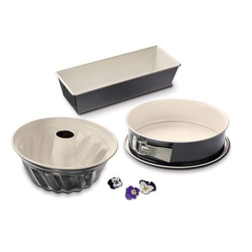 Dr. Oetker 3er Backformen-Set BACK-TREND: Springform, Gugelhupfform und Kastenform, Kuchenformen aus Stahl mit...