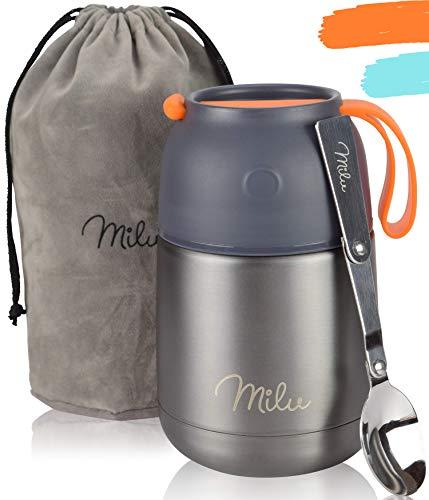 Milu® Thermobehälter 450, 650ml | Edelstahl Warmhaltebehälter | Essensbehälter | Speisegefäß Baybnahrung...