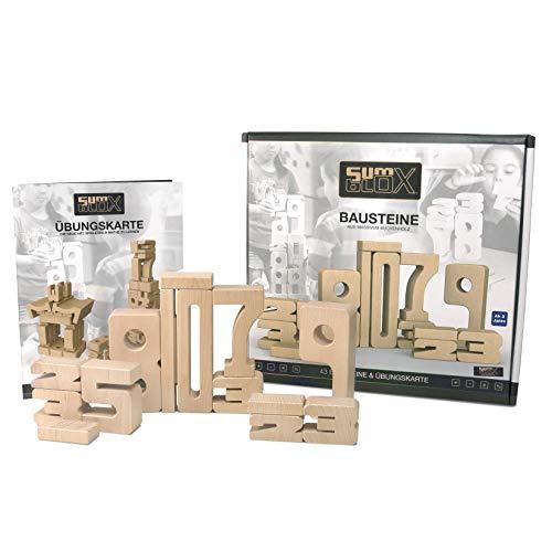 SumBlox Montessori Spielzeug Basis Set - 43 große Holz Bausteine aus massiver Buche in Form von Zahlen - Beim...