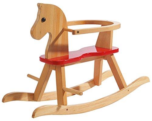 roba Schaukelpferd, Schaukeltier Massivholz natur rot, Schaukelstuhl mitwachsend für Babys und Kleinkinder...
