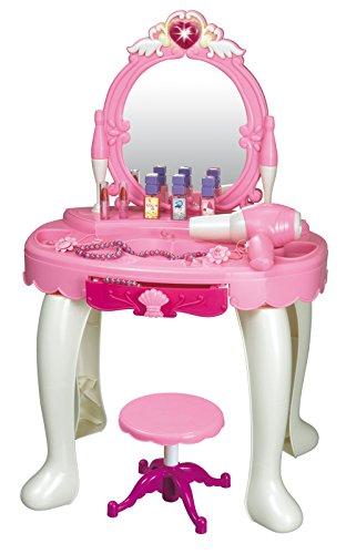 Brigamo 531 - Spielzeug Schminktisch mit Kosmetikspiegel und funktionierendem Haartrockner