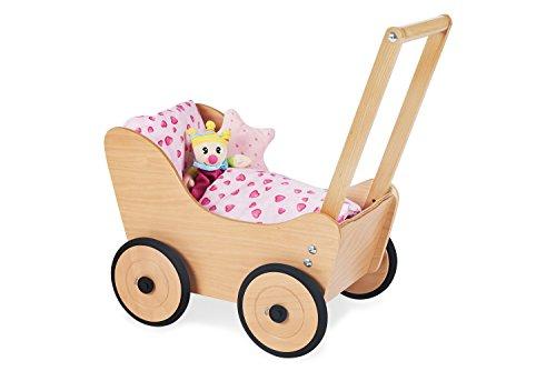 Pinolino Puppenwagen Sarah, aus Holz, mit Bremssystem, Lauflernhilfe mit gummierten Holzrädern, für Kinder...