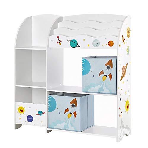 SONGMICS Kinderzimmerregal, Spielzeug-Organizer, Bücherregal für Kinder, multifunktionale Ablage mit 2...