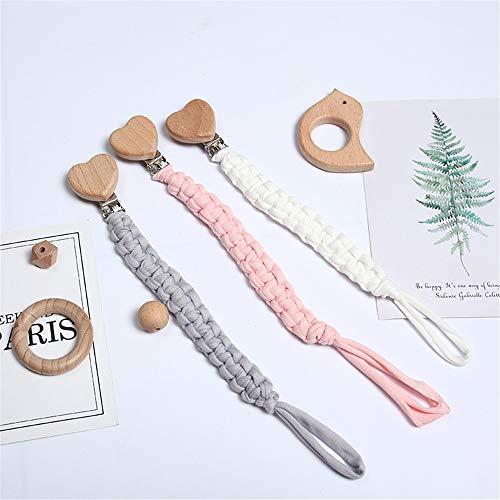 3 Stück Baby Schnullerkette Clip, Unisex-Schnullerketten für Baby mit Kunststoff Clip Baumwolle...
