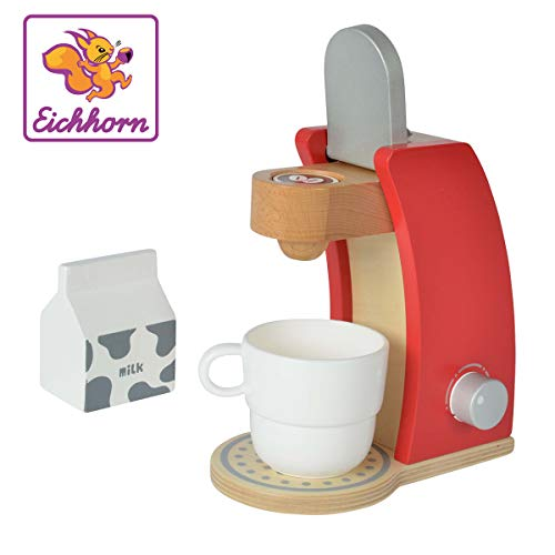 Eichhorn 100002489 - Kaffeemaschine aus Holz, inkl. Tasse, Milchbox und 1x Kaffeepad, 4-tlg., 12x18,5x20,5cm,...