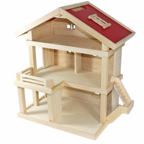 Freda Villa Puppenhaus aus Holz mit 3 Etagen Tragegriff 46 x 35 x 58 cm (B x T x H)
