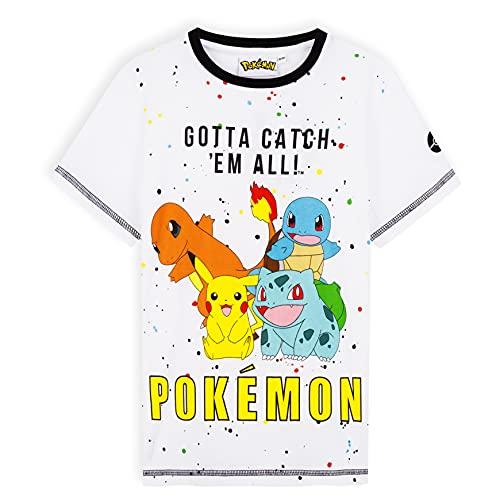 Pokemon Tshirt Jungen, T Shirt Jungs mit Pikachu, Glumanda, Schiggy, Bisasam, Jungen Tshirt 110-164 (Weiß,...