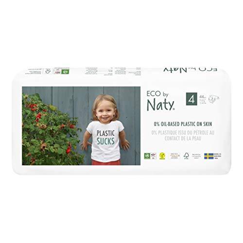 Eco by Naty, Größe 4, 88 Windeln, 7–18 kg, pflanzliche Premium-Bio‑Windeln mit 0% Plastik auf der Haut.