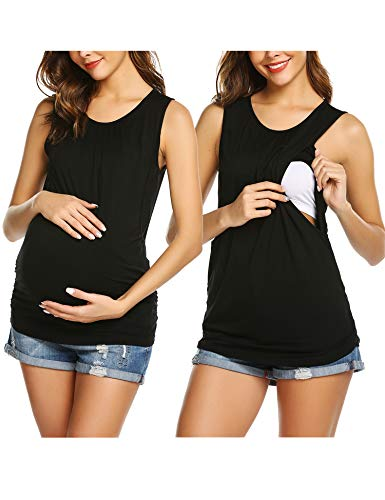 Unibelle Damen Stillshirt still Umstand top Shirt umstandstop Baumwolle, Schwarz C_black, L