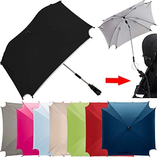 XL SONNENSCHIRM für Kinderwagen und Buggys UV-SCHUTZ 50 / Schirm (WASSERDICHT) (SCHWARZ)