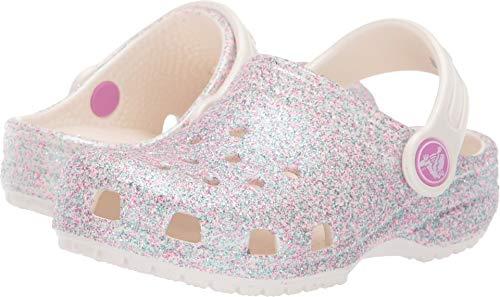 Crocs Unisex-Kinder Classic Glitter K Clogs, Weiß (Oyster 159.), 29/30 EU