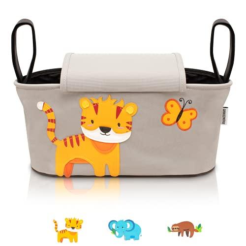 GRINSEZWERGE Kinderwagen Organizer I Kinderwagentasche verschließbar I Kinder Buggy Organizer Tasche mit...