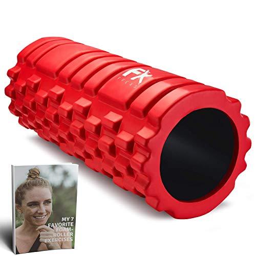 FFEXS Faszienrolle Rucken Schaumstoffrolle Fitness Sport Massagerolle Foam Roller (Rot)