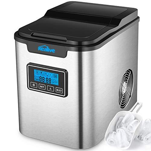 Kealive Eiswürfelmaschine / Edelstahl Eismaschine / 12kg Eis pro Tag / 9 Eiswürfeln in 6-12 Minuten / 3...