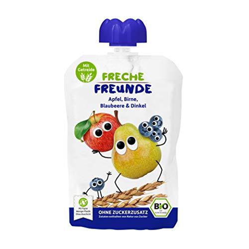 FRECHE FREUNDE Bio Quetschie Apfel, Birne, Blaubeere & Dinkel, Fruchtmus mit Getreide im Quetschbeutel für...