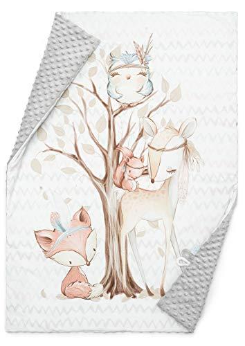 EliMeli BABYDECKE Kuscheldecke Krabbeldecke Premium Babybettwäsche Baumwolle super weichem Minky Polar Fleece...