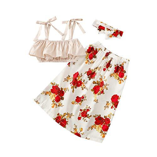 NBAA Kleinkind Kinder Baby Sommer Gelb Tops Rock und Kopfbedeckung Kleidung Set Mädchen Schlinge Gelb Top +...
