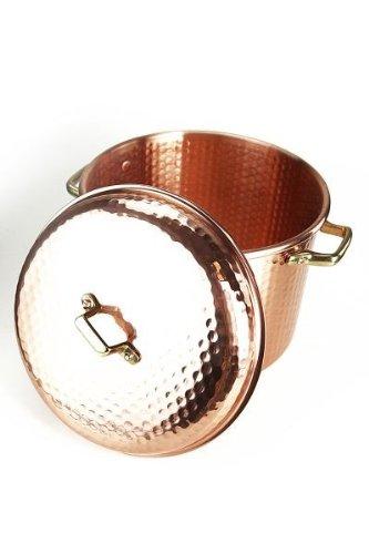 CopperGarden Kupfertopf mit Deckel + Griffen aus Messing 12 L I Gehämmerter Kupferkochtopf aus blankem...