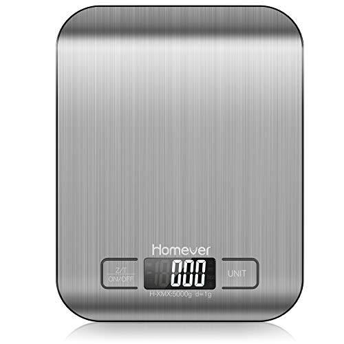 Homever Digitale Küchenwaage, Präzision auf bis zu +/- 1g Küchenwaage Digital Klein, 5kg Maximalgewicht,...