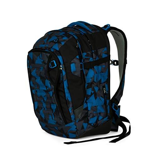 Satch match Schulrucksack - ergonomisch, erweiterbar auf 35 Liter, extra Fronttasche - Blue Triangle - Blau