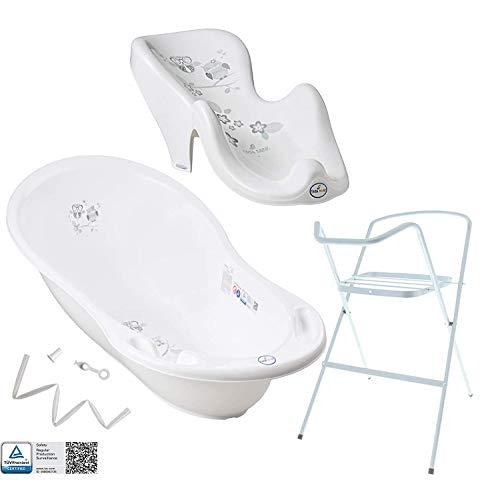 Tega Baby ® Baby Badewanne mit Gestell und Verschiedene Sets mit Babybadewannen + Ständer + Abfluss +...