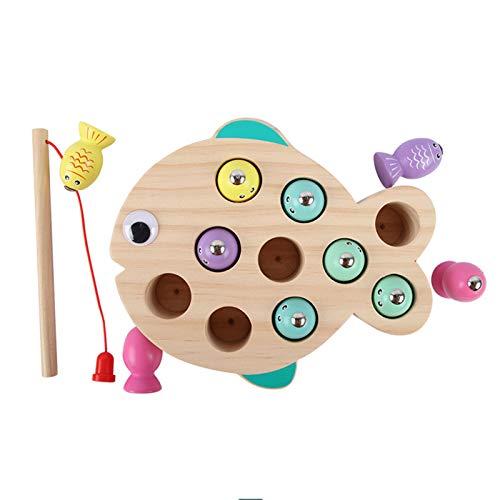 WFF Spielzeug Magnetische Holz Angelspiel Spielzeug for 2-6 Jahre Alten Kinder mit 10 Fischen und 1 Magneten...