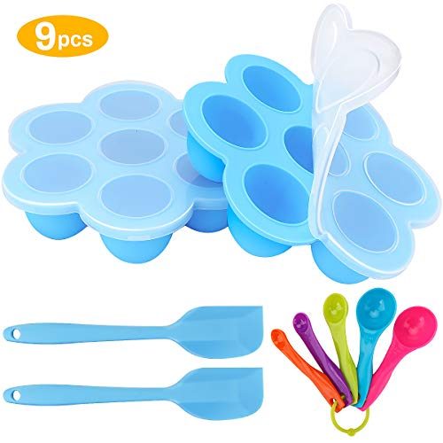 Zwini Silikon Babynahrung Behälter 2er Silikon Baby Food Gefrierschrank Tray 7 Fächer Babynahrung Einfrieren...