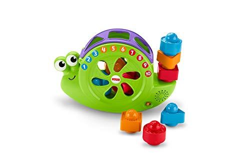 Fisher-Price FRB88 - Babys Musikschnecke mit Spielblöcken, Lernspielzeug für Farben Zahlen und Formen, Baby...
