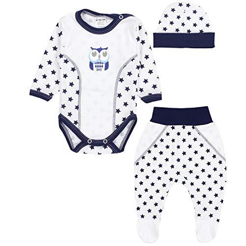 TupTam Baby Kleidung Set Body Strampelhose Mütze Bekleidungsset Jungen Mädchen, Farbe: Eule Sterne...