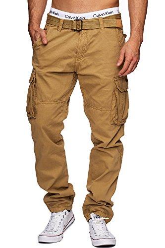 Indicode Herren William Cargohose aus Baumwolle m. 7 Taschen inkl. Gürtel | Lange Regular Fit Cargo Hose...