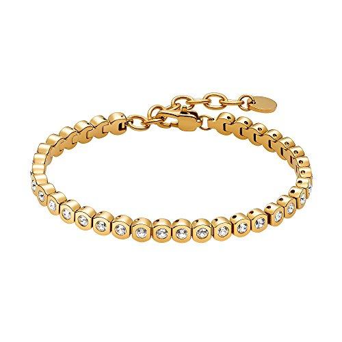 Heideman Armband Damen Amilla II aus Edelstahl Gold farbend matt Tennisarmband mit Zirkonia Steinen Weiss mit...