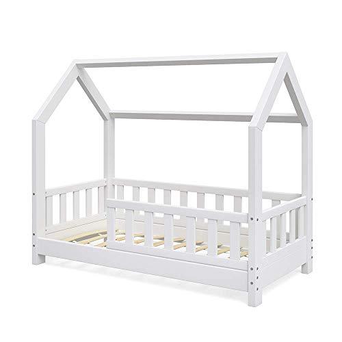 VitaliSpa Kinderbett Hausbett Wiki 70x140cm weiß Kinder Bett Holz Haus Schlafen Hausbett Spielbett Inkl....