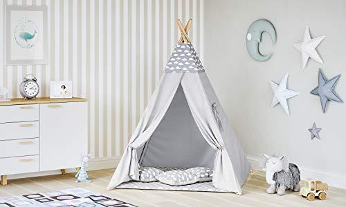 MALATEC Tipi Zelt für Kinder Spielzelt Indianer Baumwolle 3 Kissen Kinderzelt drinnen draußen 8702 ,...