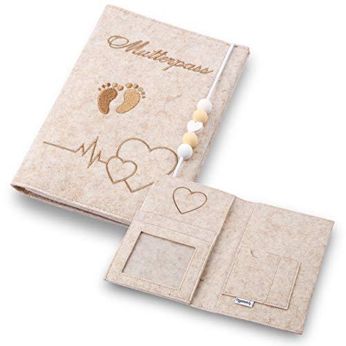 Lezzanna - Mutterpasshülle aus Filz - Mutterpass Tasche - Dokumententasche - in 4 Farben - viele Fächer für...