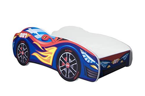Autobett Pkw Burning Flame 70x140 cm Kinderbett blau mit Lattenrost und Matratze MDF beschichtet - mit...