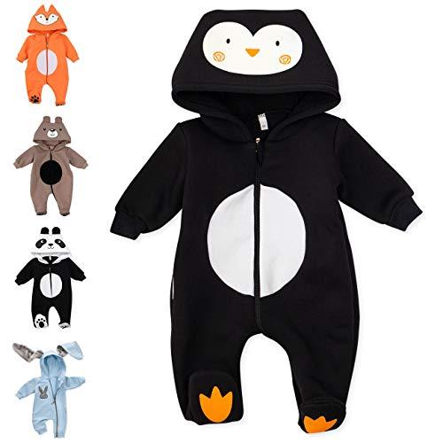 Baby Sweets Baby Tier Strampler Unisex schwarz im Motiv: Pinguin/Baby-Overall als Tierstrampler mit Kapuze...