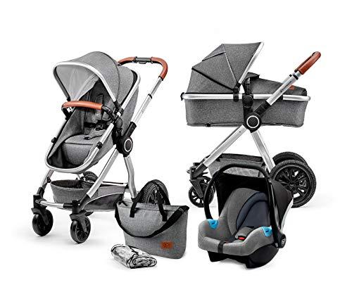 Kinderkraft Kinderwagen 3 in 1 VEO, Kinderwagenset, Kombikinderwagen, Buggy, Babyschale, Zweistufige Federung,...