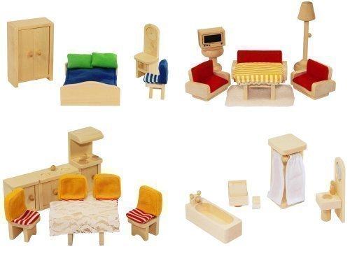 Freda Puppenhausmöbel aus Holz 28 Teile + Hussen