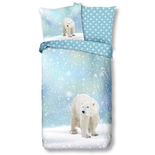 Aminata Kids Premium Biber-Bettwäsche Eisbär 135x200 cm + 80x80 cm, Baumwolle, Reißverschluss,...