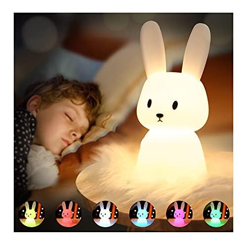 SOLIDEE Bunny Silikon Nachtlicht Kinder USB-Aufladung Nachttischlampe mit 7 Lichtwechsel & Tap Control &...