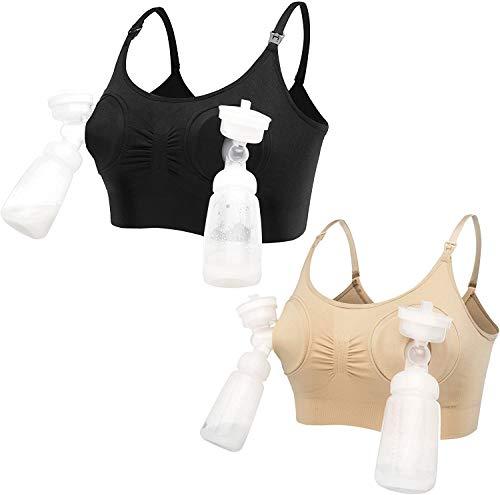 LOVELYBOBO 2 Pack Damen Schwangerschafts Still-BH Ohne Bügel Hände Freie Pumpen Bustier Milchpumpe BH