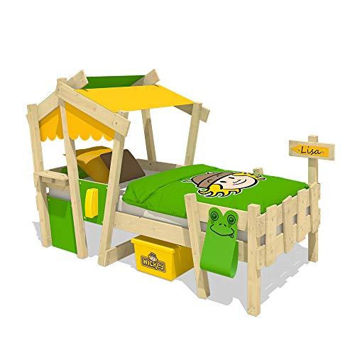 WICKEY Kinderbett Hausbett CrAzY Candy - gelb/apfelgrüne Plane Holzbett 90 x 200 cm