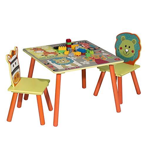 WOLTU 3tlg. Kinder Sitzgruppe Waldtiere Tisch & Stuhlsets, Kindertisch mit 2 Stühle Sitzgruppe für Kinder...