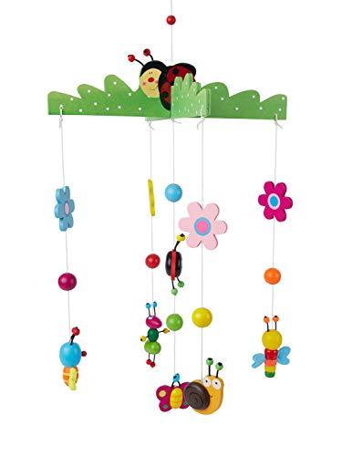 Bieco 3D Baby Mobile Käferchen aus robustem Holz, Viele bunte Tiere und Blumen, Blickfang am Babybett,...