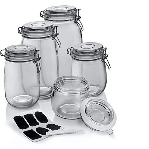 Dimono® Einmachgläser 5er Set mit Drahtbügel-Verschluss; 5 Vorratsgläser in verschiedenen Größen zum...
