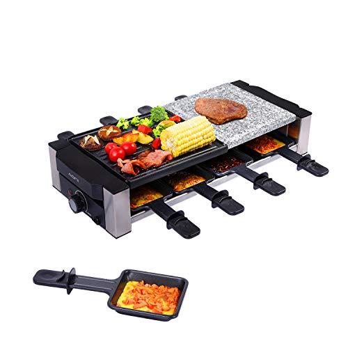 AONI Raclette grill, elektrischer Indoor-Grill Koreanischer BBQ-Grill, abnehmbare 2-in-1 Antihaft-Grillplatte...