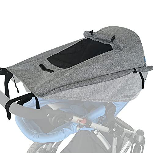 WD&CD Sonnensegel Kinderwagen mit UV Schutz 50+ und Wasserdicht, Double Layer Fabric mit Sichtfenster und...